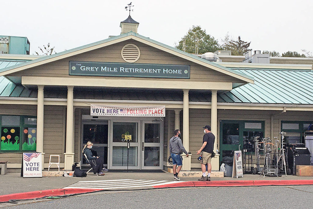 No, it's not the U.S. A production crew recently remade the Langley Seniors Centre into an American retirement centre for a zombie outbreak television series. (special to Langley Advance Times)
