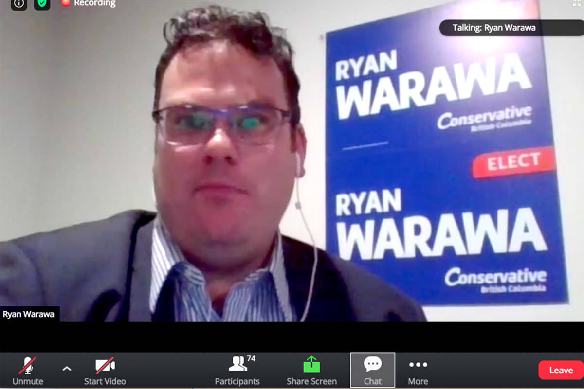 Langley East Conservative candidate Ryan Warawa took part in the climate change all-candidates meeting on Wednesday night over Zoom. (Screenshot)