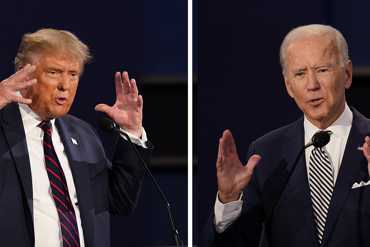 FILE - This combination of Sept. 29, 2020, file photos show President Donald Trump, left, and former Vice President Joe Biden during the first presidential debate at Case Western University and Cleveland Clinic, in Cleveland, Ohio. The Commission on Presidential Debates has wanted the second Trump-Biden debate to be 'virtual' amid concerns about the president's COVID-19. (AP Photo/Patrick Semansky, File)