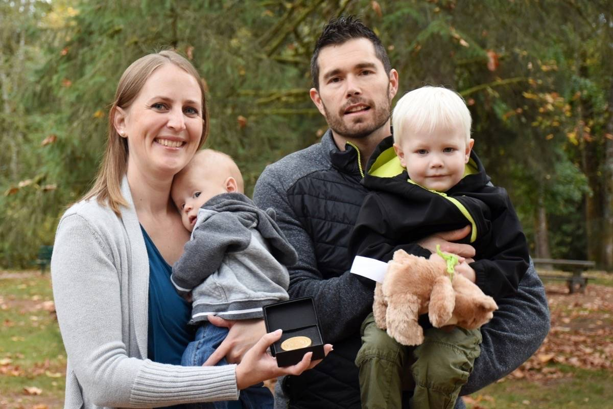 Emergency room nurse Stephanie Bazinet received the BC Emergency Health Services Vital Link Award for saving a man's life in June while 9 months pregnant with Wyatt, who was born July 21. (Colleen Flanagan/The News)