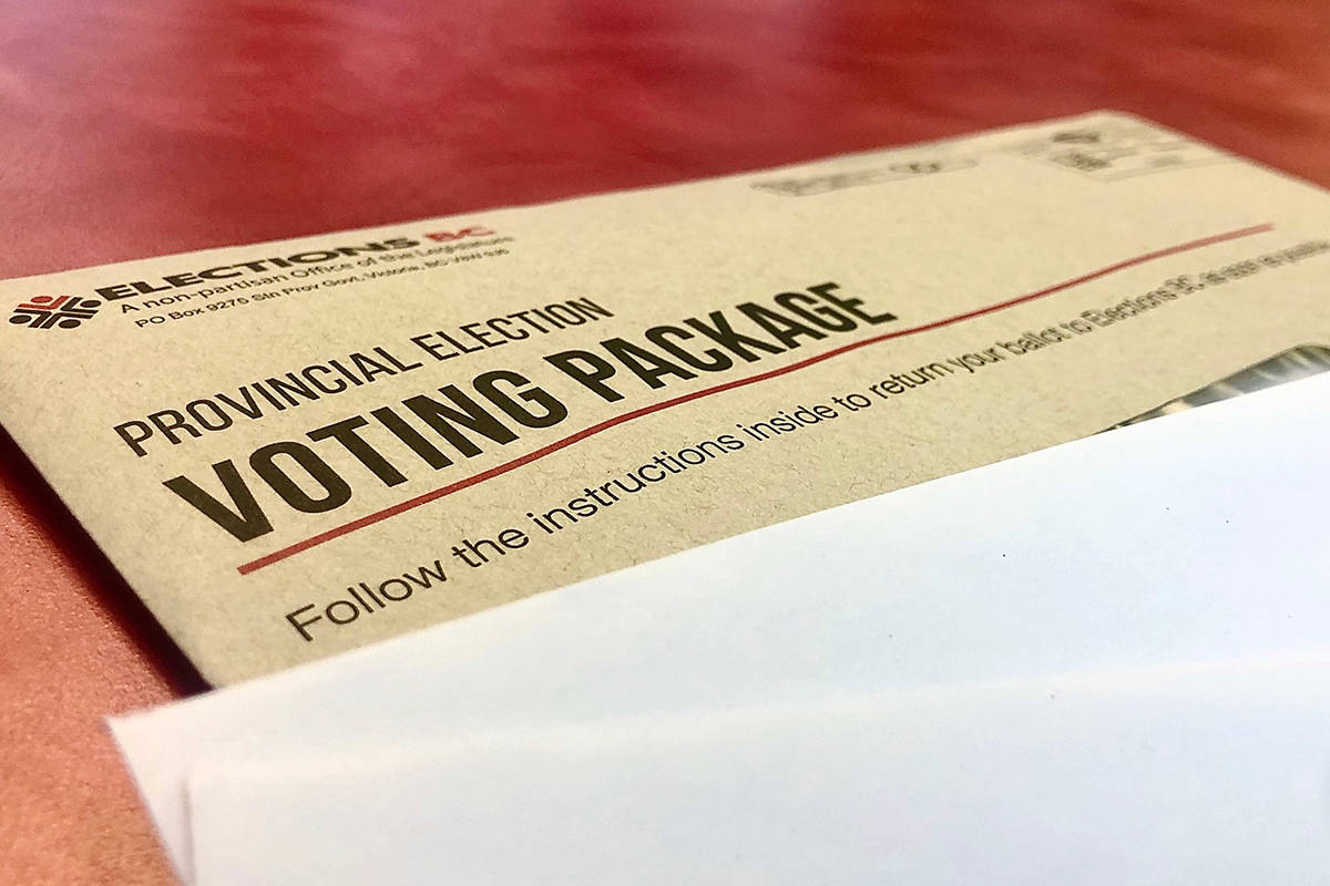 Mail in ballot, provincial election 2020 (Liam Harrap/Revelstoke Review)
