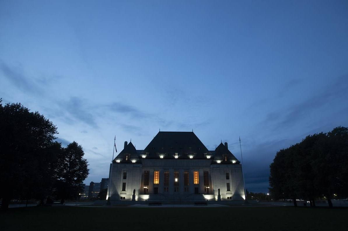 The Supreme Court of Canada is seen at sunset in Ottawa, Tuesday Sept. 1, 2020. THE CANADIAN PRESS/Adrian Wyld