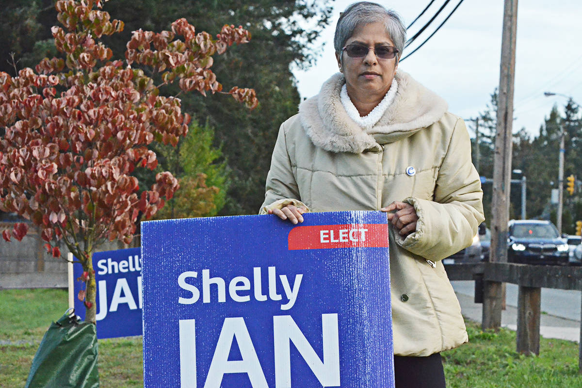 Conservative candidate Shelly Jan said a number of her signs have been damaged or destroyed, including this one one, tossed into the road. (Matthew Claxton/Langley Advance Times)