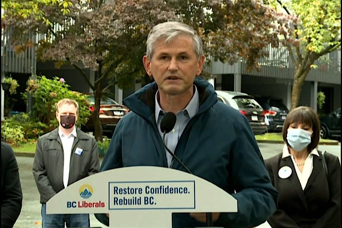 B.C. Liberal leader Andrew Wilkinson announces new housing measures at a campaign stop in Port Moody, Oct. 16, 2020. (B.C. Liberal video)