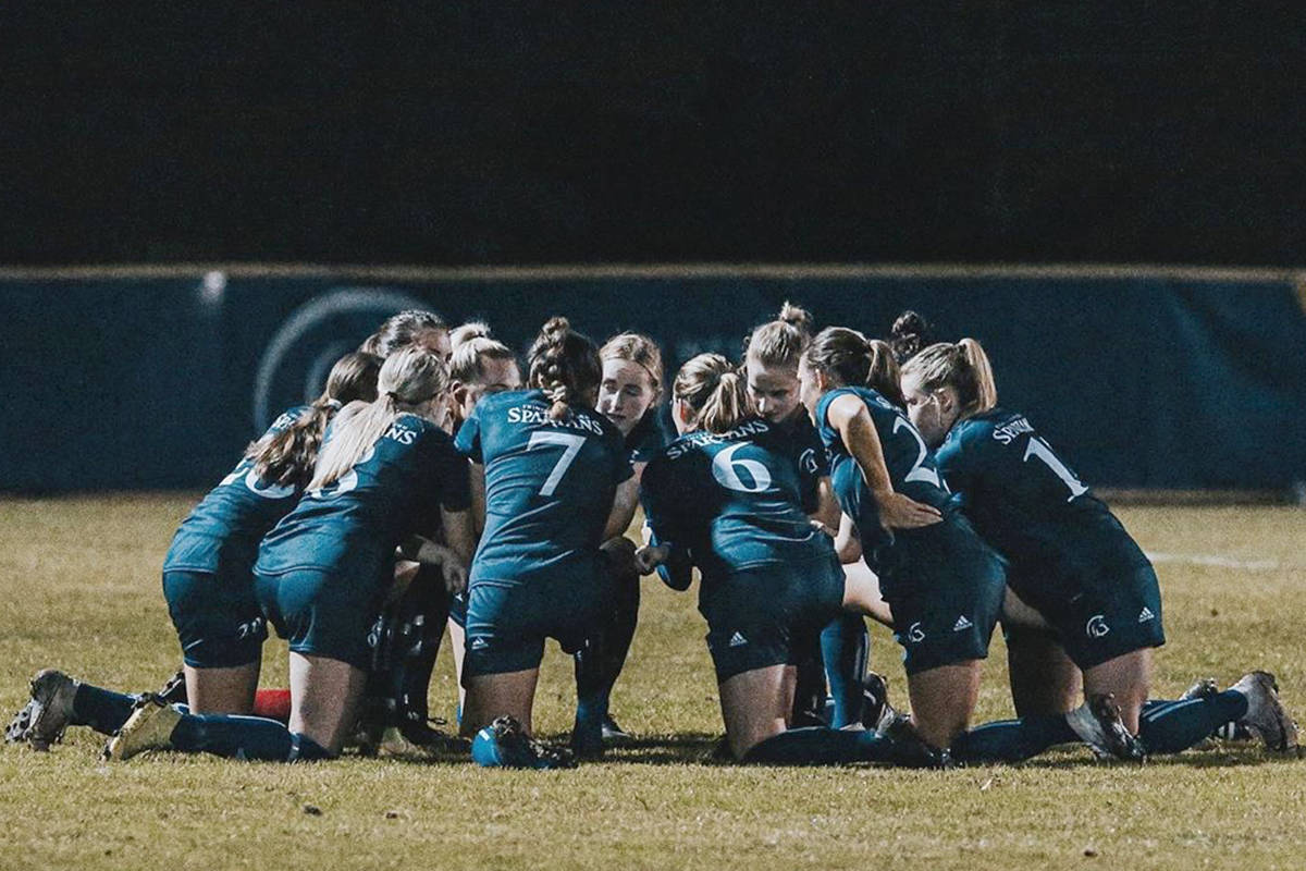 Trinity Western University (TWU) Spartans women's soccer squad returned to the field to post a 3-0 win over the UFV Cascades Friday night, Oct. 17, at TWU's Chase Office Field. (Courtesy TWU)