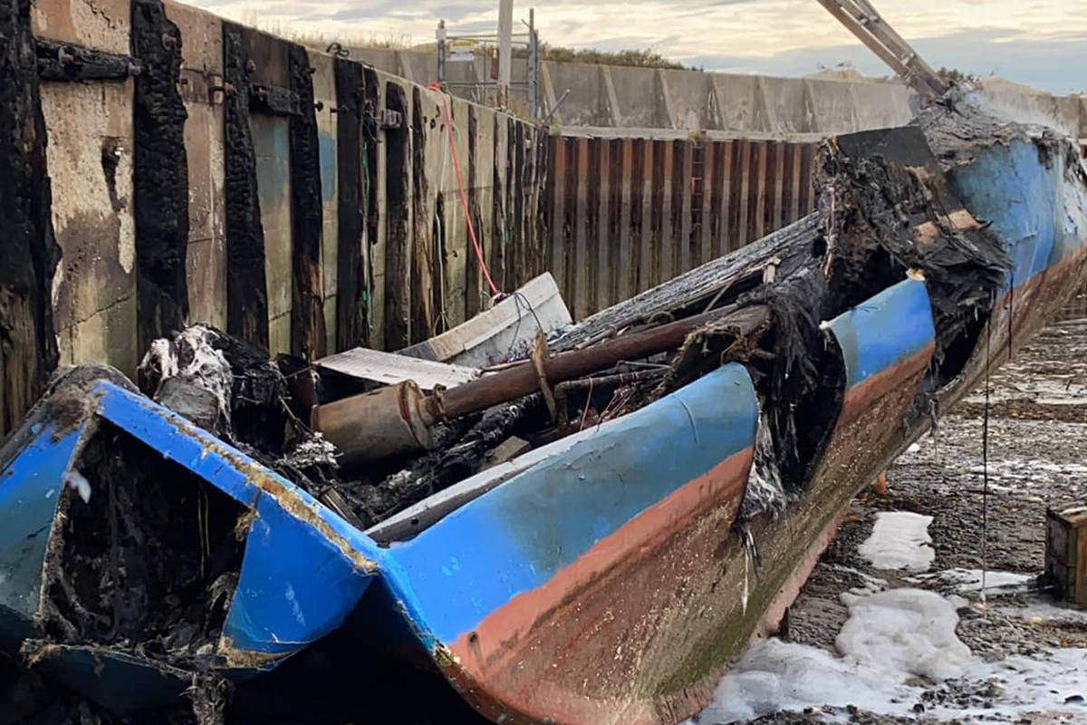 Robert Syliboy's lobster fishing boat is shown after being destroyed by a fire in this Monday, Oct. 5, 2020 handout photo. A lobster vessel belonging to a Mi'kmaq fisher has been destroyed by a suspicious fire at a wharf in southwestern Nova Scotia, near waters where a self-regulated Indigenous fishery is underway. THE CANADIAN PRESS/HO - Robert Syliboy