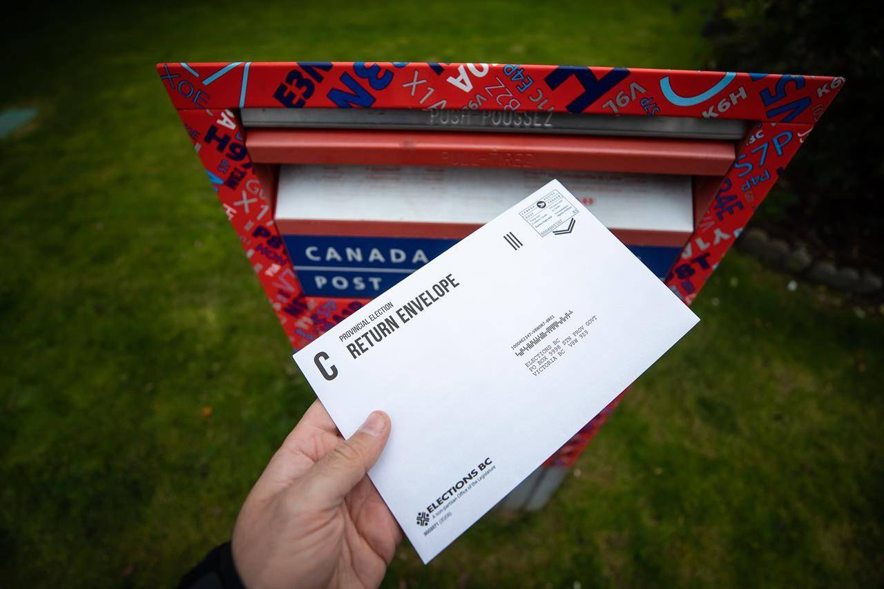 In this photo illustration, a provincial election mail-in ballot sealed in an Elections B.C. return envelope is seen before being deposited in a Canada Post mailbox, in Richmond, B.C., Saturday, Oct. 17, 2020. The final result of British Columbia's provincial election won't be known for at least two weeks because more than 700-thousand mail-in ballots have to be counted by hand. THE CANADIAN PRESS/Darryl Dyck