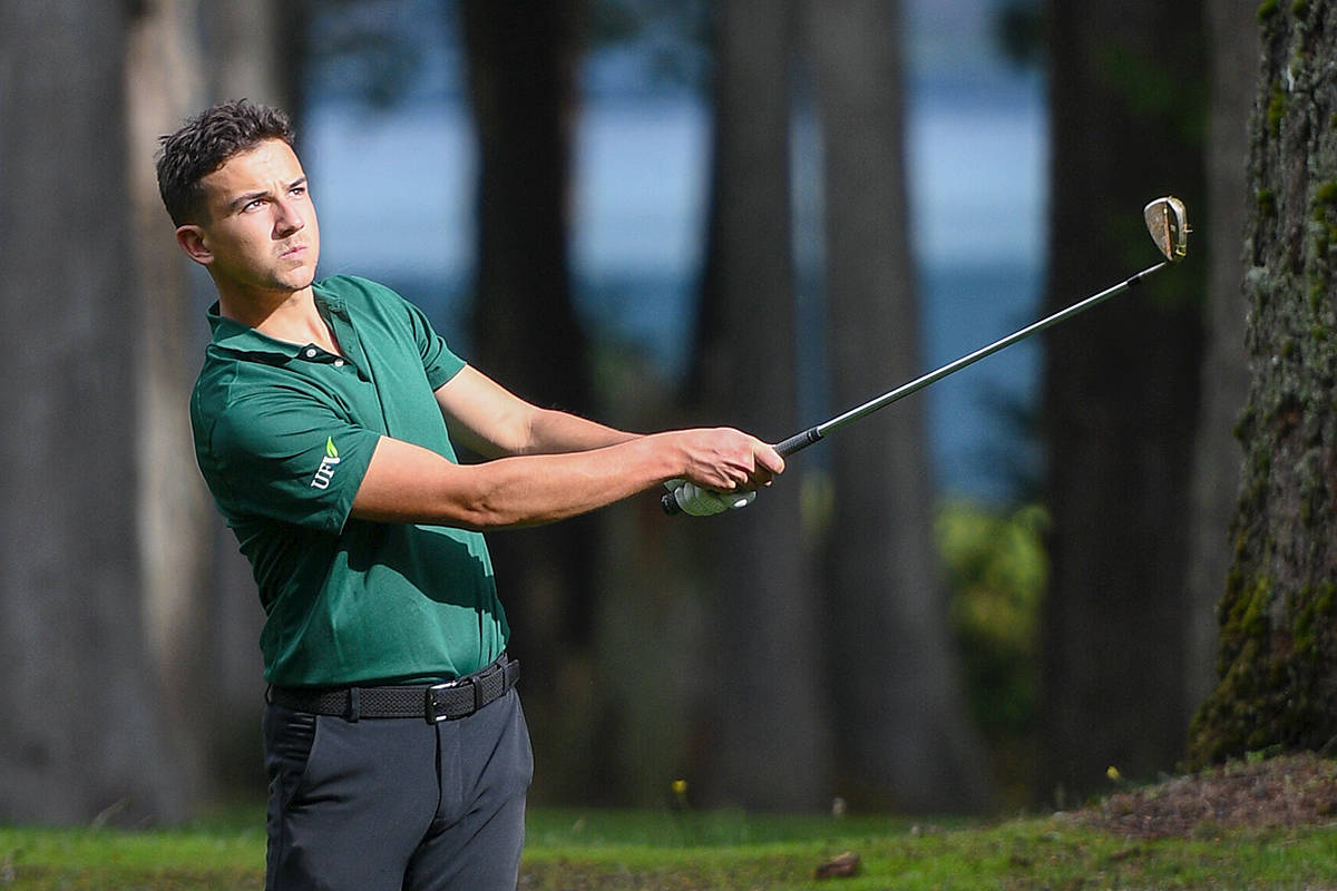 Jackson Jacob was the top Cascade on the University of the Fraser Valley (UFV) men's golf team on Wednesday, Oct. 14, as the team took first at the Sandpiper Golf Course in Harrison Mills in the BC Rivalry Series. (Dan Kinvig/UFV/special to Langley Advance Times)