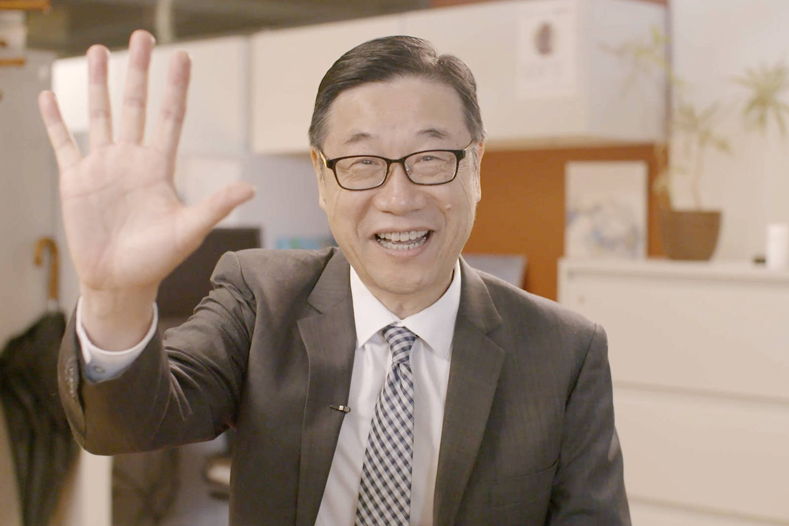 """Dr. Kendall Ho shares a virtual """"high five"""" part of the """"High Fives for Health Care"""" program launching to support the most urgent needs of VGH and UBC Hospital, and other Vancouver health care centres."""