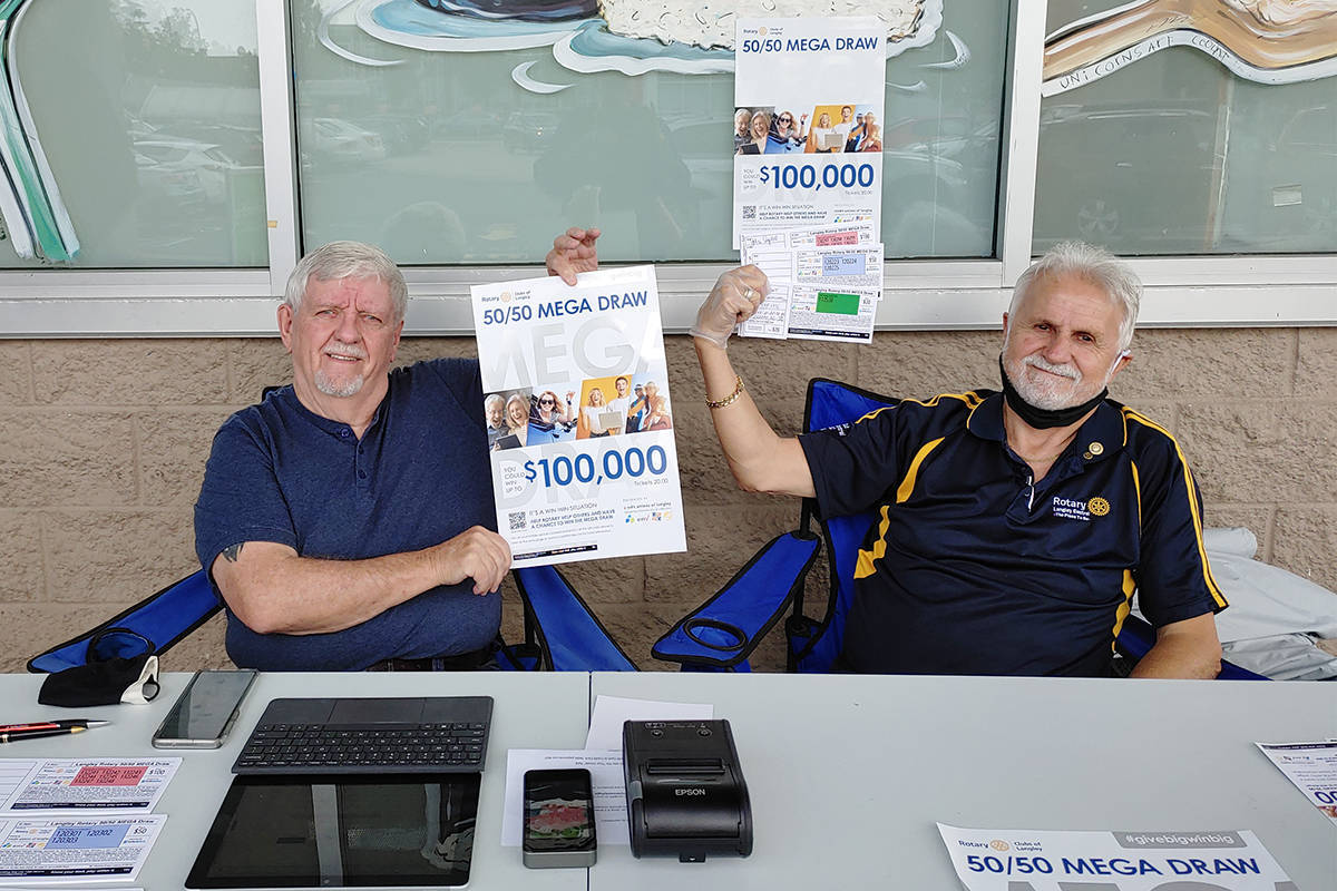 Langley Rotary volunteers Mike Brown (L) and Brian Lott (R ) set up their fundraising table at Save-On Foods, Fraser Highway and 201st last month to promote ticket sales for the Langley Rotary 50/50 MEGA Draw. (Pauline Buck/Special to The Star)