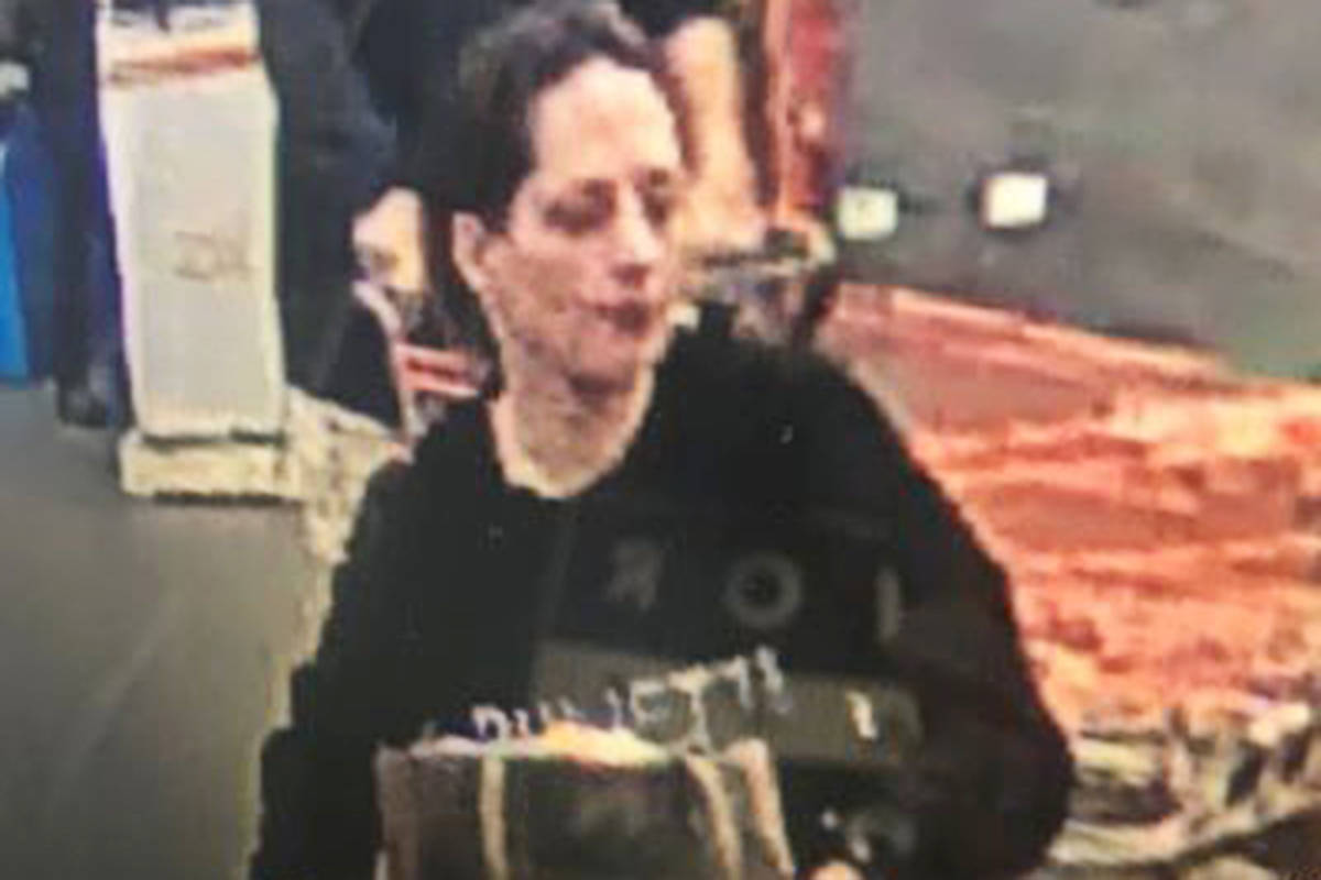 This woman allegedly assaulted a loss prevention officer at the Langley Home Depot earlier this month. (Langley RCMP/Special to the Langley Advance Times)