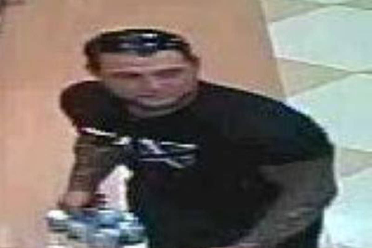 A man who allegedly stole alcohol from an Aldergrove liquor store. (Langley RCMP/Special to the Langley Advance Times)