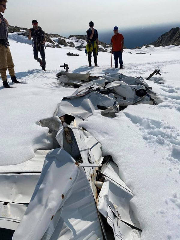 The wreckage has been melting into the glacial ice for decades and as the glacier has flowed downhill the metal has been twisted and pulled into a tangled mess. (Submitted photo)