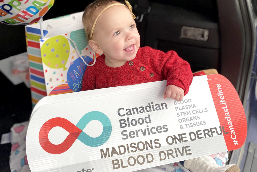 On Thursday, Oct. 22, the day before Aldergrove's Madison Lewis turns one, family and friend celebrated by attending a blood donor drive in her honour. (Courtesy Lewis Family)