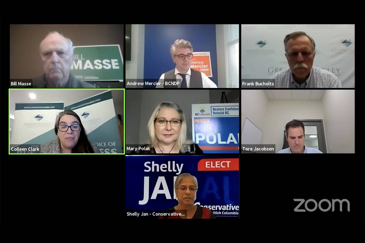 Langley riding candidates Shelly Jan, Bill Masse, Andrew Mercier, and Mary Polak participated in a Zoom all-candidates meeting on Oct. 20, 2020, along with moderator Frank Bucholtz and members of the Greater Langley Chamber of Commerce and the Fraser Valley Real Estate Board. (Zoom)