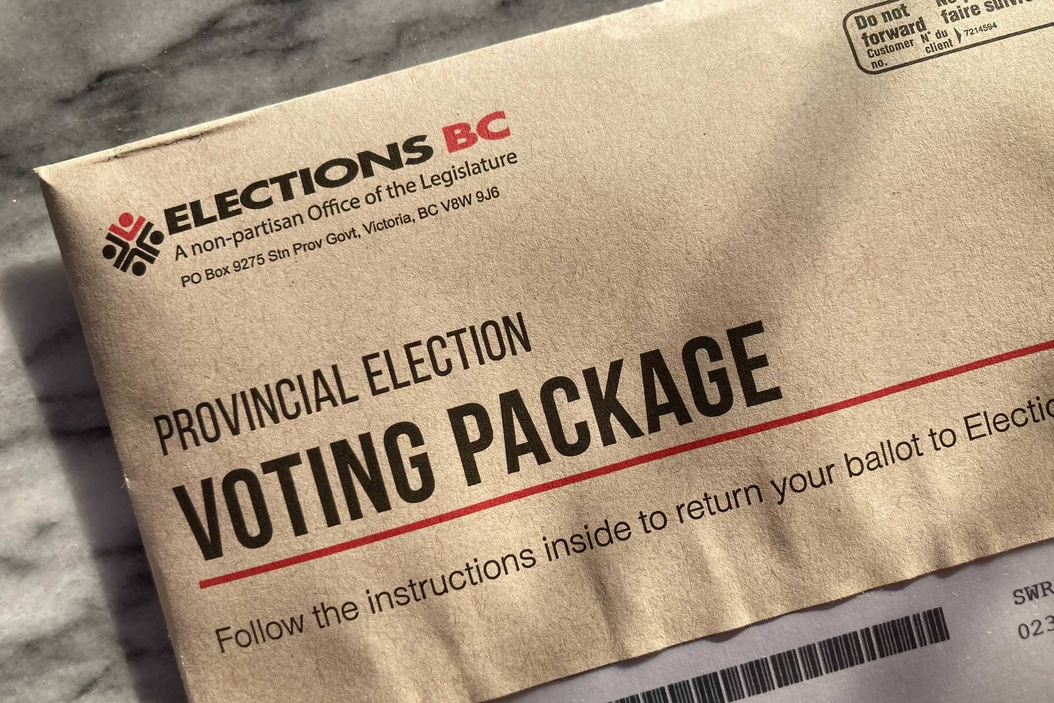 Mail-in ballot from Elections BC (Katya Slepian/Black Press Media)