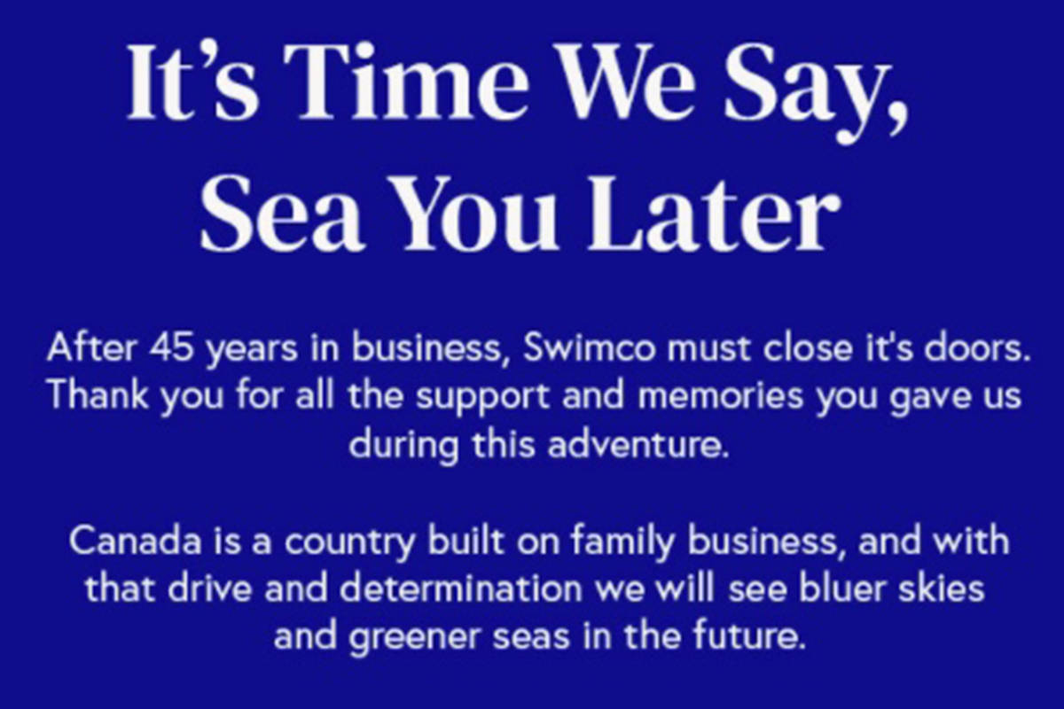 Swimco announced recently it is shutting all of its stores in Canada, including in Langley. (Swimco website)