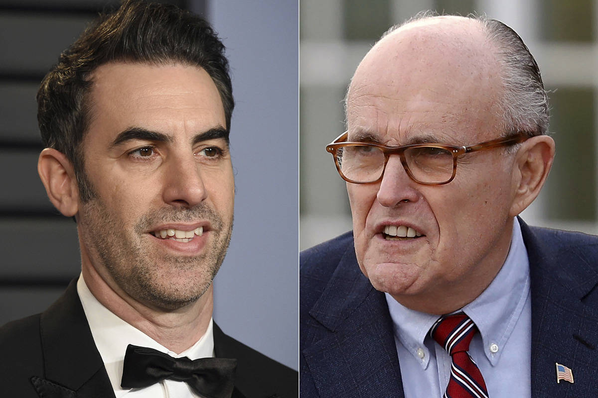 "Sacha Baron Cohen arrives at the Vanity Fair Oscar Party in Beverly Hills, Calif., on March 4, 2018, left, and former New York Mayor Rudy Giuliani at the Trump National Golf Club Bedminster clubhouse in Bedminster, N.J. on Nov. 20, 2016. Giuliani appears in a scene in the new ""Borat"" film. The scene, which was filmed in a New York hotel room in July, resulted in Giuliani calling police. (AP Photo)"