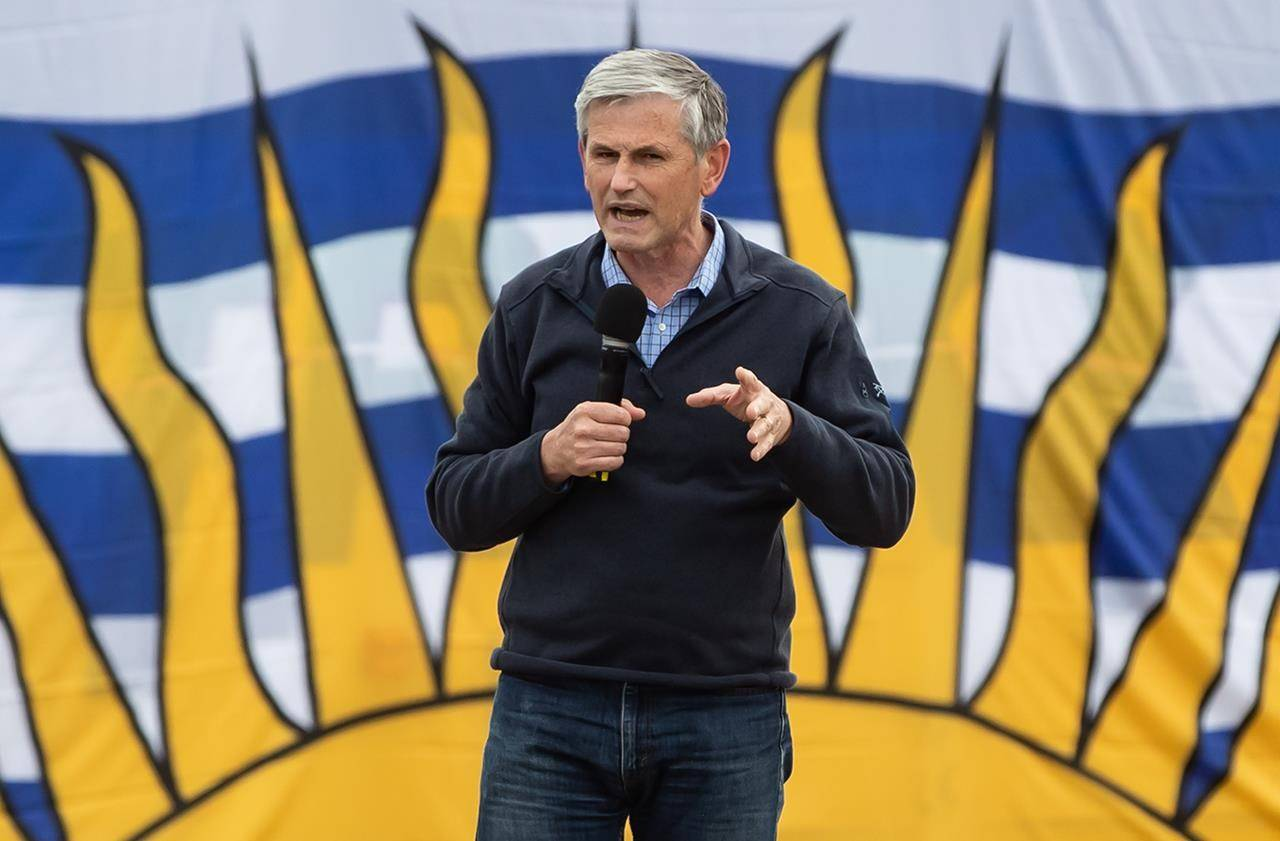 Liberal Leader Andrew Wilkinson speaks during a drive-in car rally campaign stop at a tour bus operator, in Delta, B.C., on October 17, 2020. THE CANADIAN PRESS/Darryl Dyck