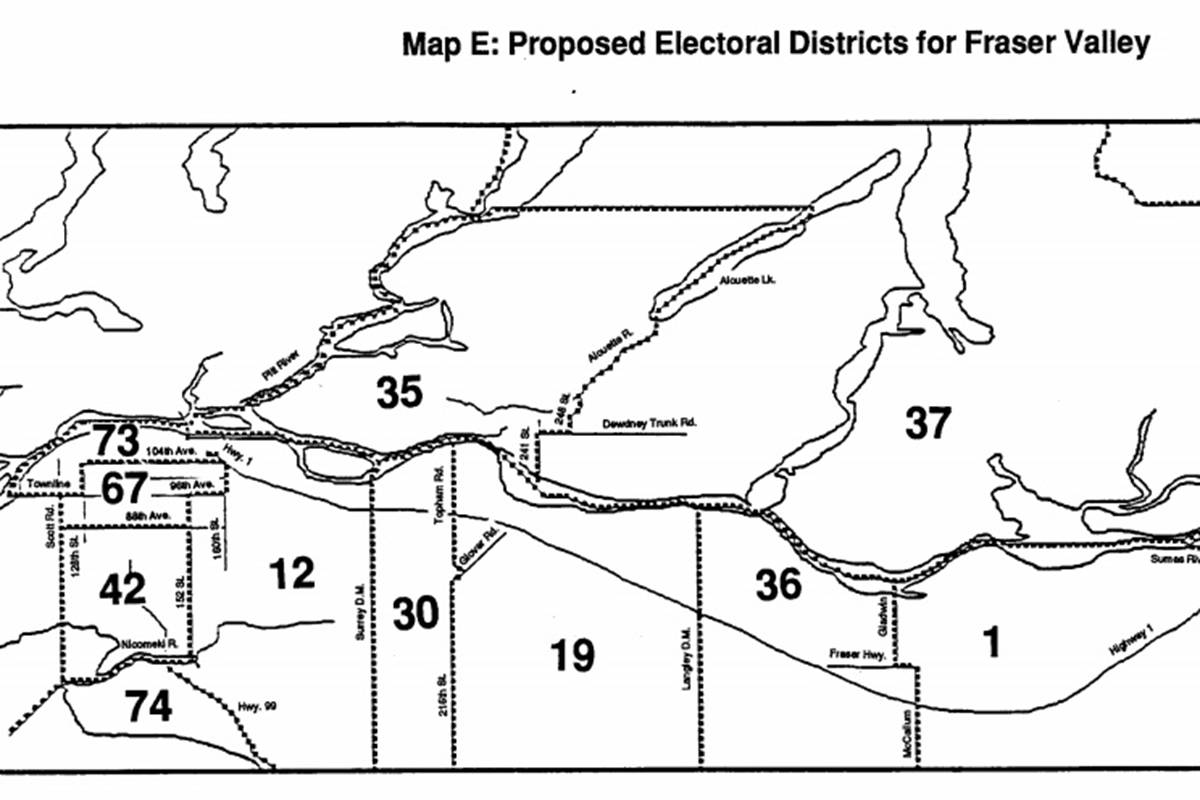 Drawing boundaries in Langley – the electoral boundaries commission put forward this map in 1988, dividing Langley for the first time into two ridings. The actual boundaries approved later that year would be slightly different. (Electoral Boundaries Commission of British Columbia)