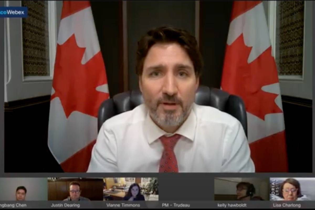In a Memorial University virtual town hall, Prime Minister Justin Trudeau said he would do what he could to possibly 'nudge' search efforts along for a 25-year-old missing in E.C. Manning Provincial Park. (Youtube screenshot)