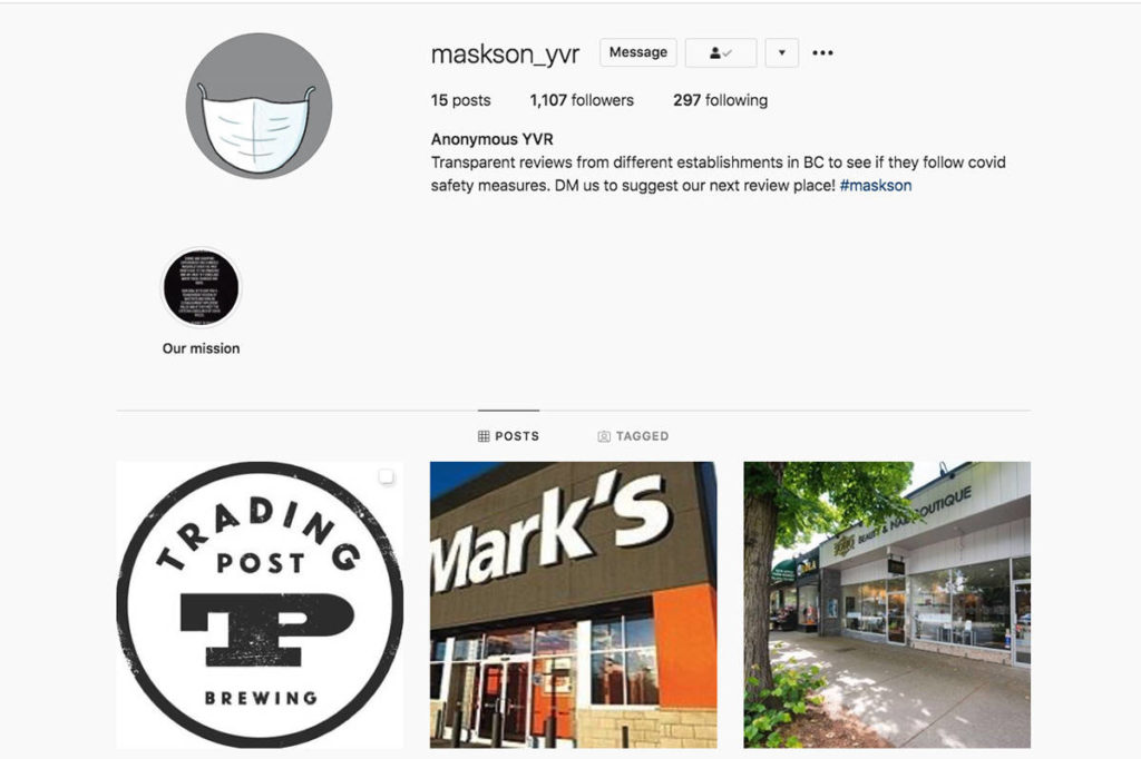 The Anonymous YVR is an Instagram page that reviews restaurants and other establishments around B.C. based on how well they adhere to COVID-19 rules. (Instagram)