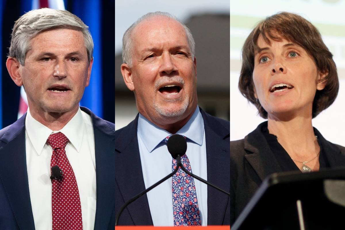BC Liberal leader Andrew Wilkinson,  BC NDP leader John Horgan and BC Green leader Sonia Furstenau. (File)