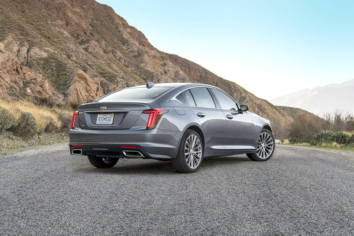 The CT5 is rear-wheel-drive with all-wheel-drive available as an option. Notice the softening of the body lines and the duck-tail truck lid that's reminiscent of BMW styling. PHOTO: CADILLAC