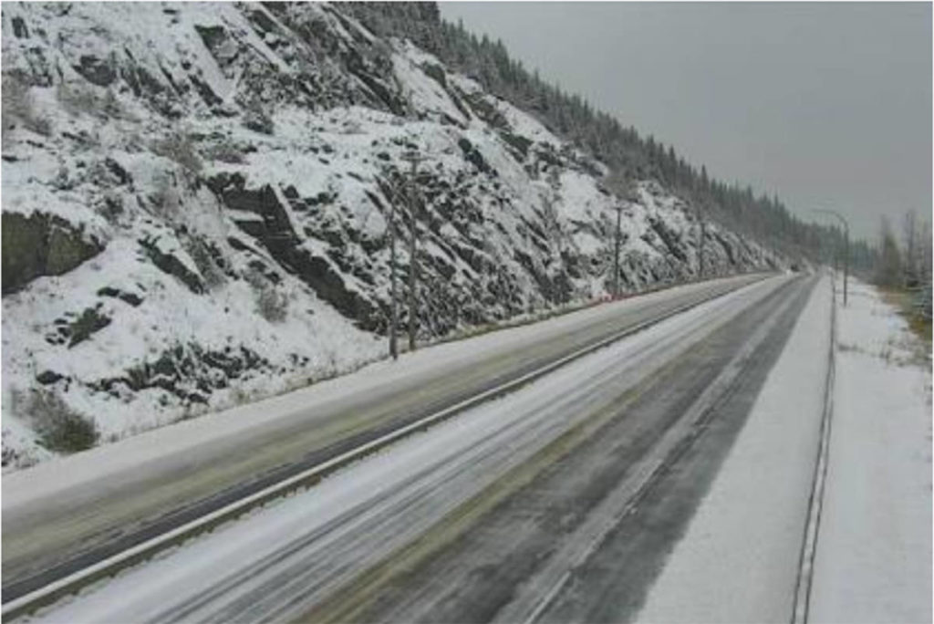 The Coquihalla Summit pictured at 9:18 a.m. Oct. 23. Hwy 5 is closed in both directions due to a multi-vehicle incident. (DriveBC)