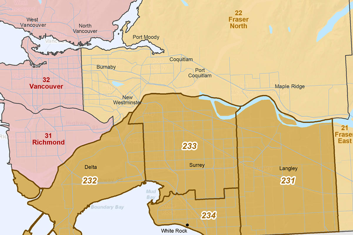 The Fraser South region includes Surrey, Delta, White Rock and Langley. To the east, the Fraser East region includes Mission, Abbotsford, Chilliwack and Hope. Fraser North includes Burnaby, the Tri-Cities, and Maple Ridge.