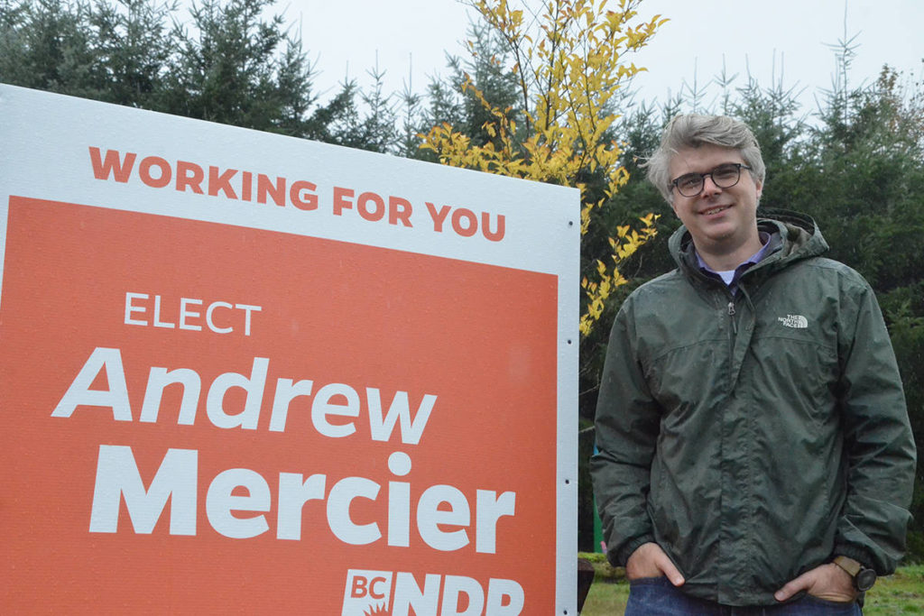 BC NDP candidate Andrew Mercier is projected to win the Langley riding in the 2020 BC provincial election. (Matthew Claxton/Langley Advance Times)