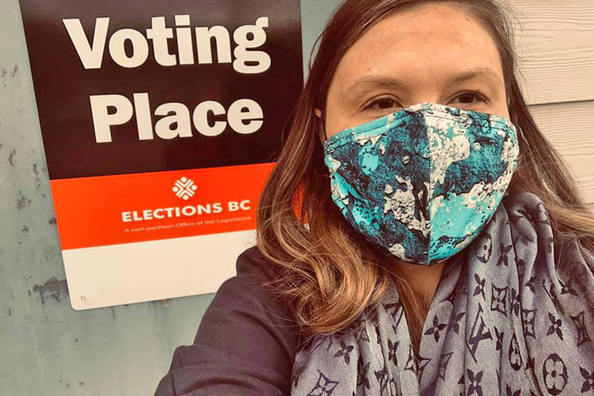 Chastity Davis-Alphonse took the time to vote on Oct. 21. B.C's general Election Day is Saturday, Oct. 24. (Chastity Davis-Alphonse Facebook photo)