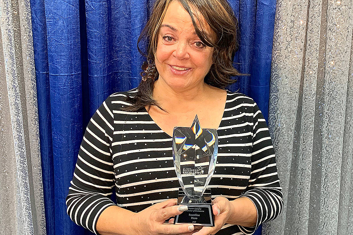 Kim Snow of Kimz Angels took home the chamber's frontline hero award. (Special to Langley Advance Times)