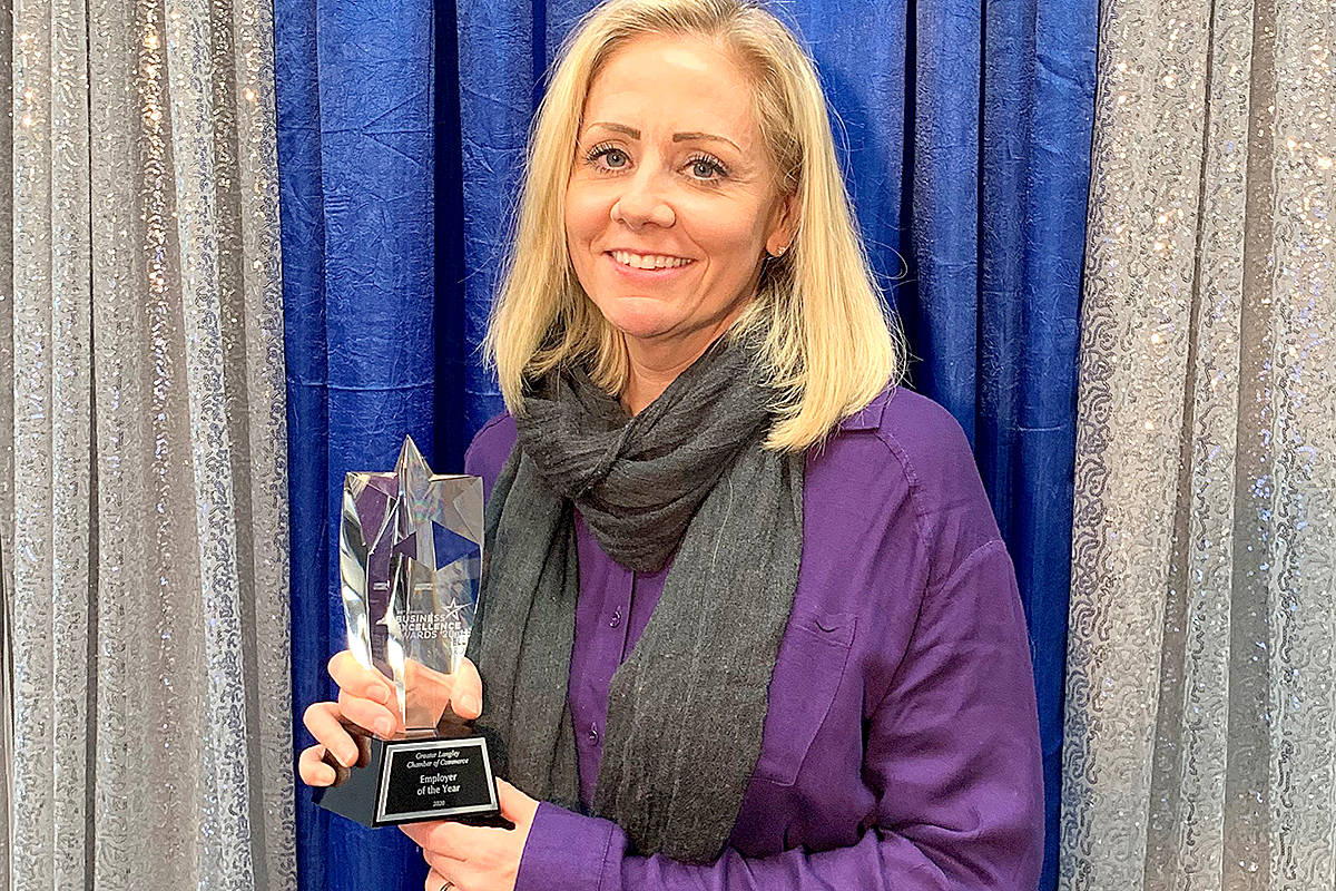 Dr. Renee Ferguson of Mountain View Veterinary Hospital was selected as the recipient of the chamber's employer of the year award for 2020. (Special to Langley Advance Times)