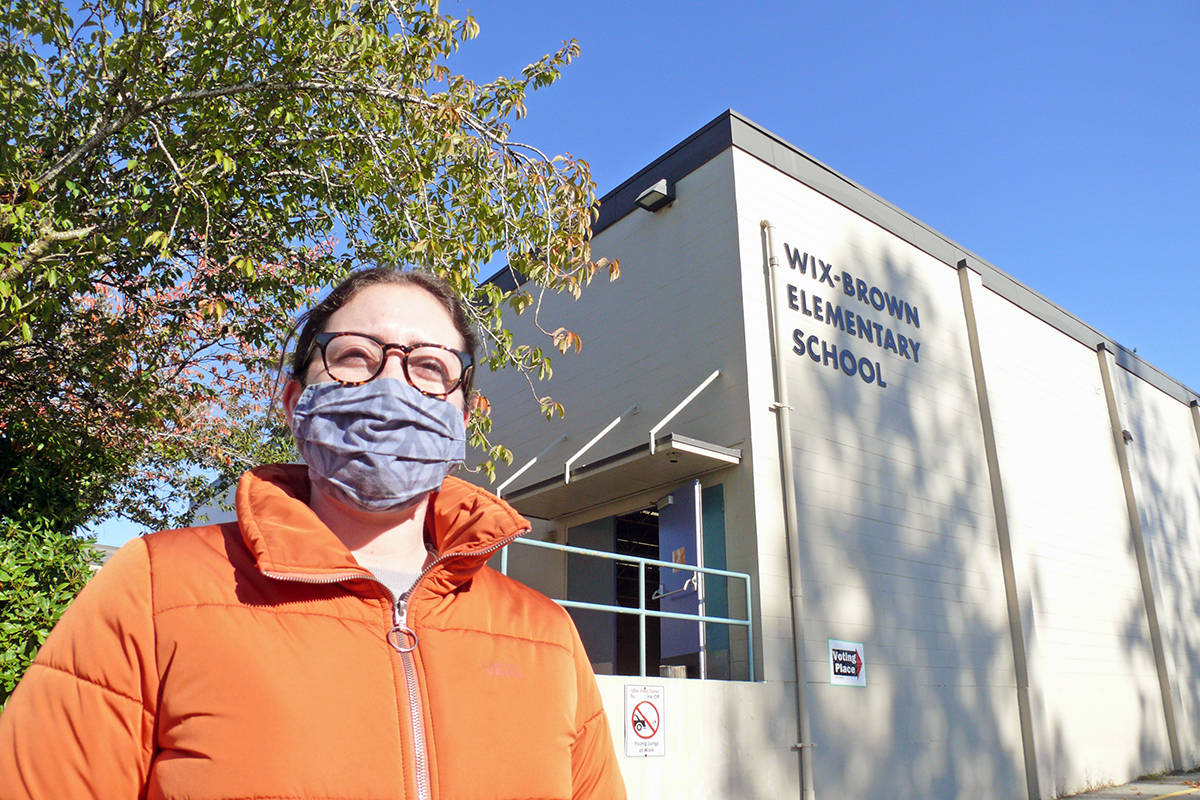 Spencer Goodwin said changes resulting from the coronavirus pandemic made voting more efficient when she attended the polling station at Wix-Brown Elementary in Langley on Saturday, Oct. 24, 2020 (Dan Ferguson/Langley Advance Times)