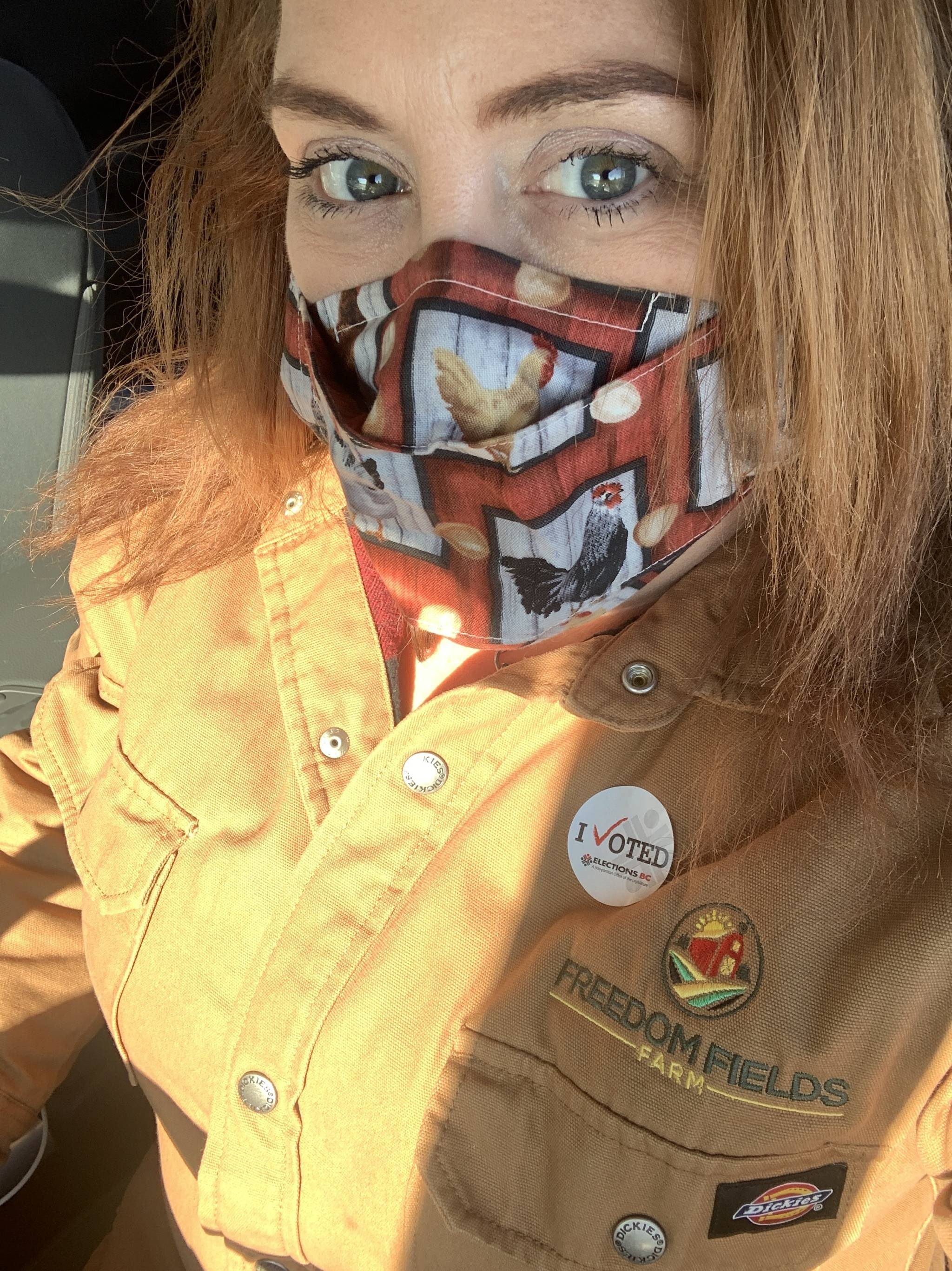 """""""I've spent the day on my farm, and I went and voted! The mask I am wearing is a chicken one made by a local Langley mom,"""" said NDP candidate Megan Dykeman. (Megan Dykeman/Special to Langley Advance Times)"""