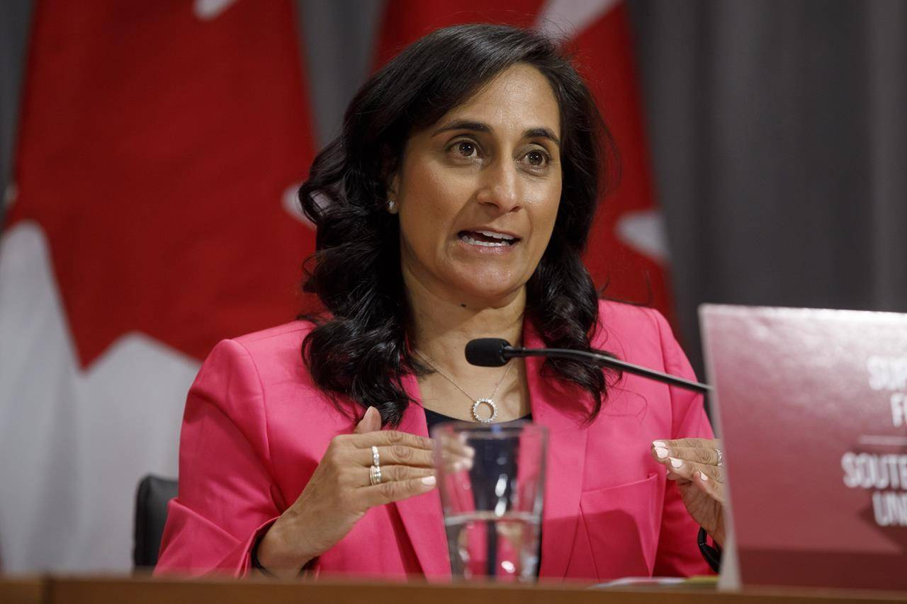 Canada's Minister of Public Services and Procurement Anita Anand speaks during a press conference in Toronto, Monday, Aug. 31, 2020. Canadian companies that answered the government's call to produce ventilators and other desperately needed equipment during the COVID-19 pandemic say they're worried that opposition MPs are now demanding disclosure of the contracts they signed with Ottawa. THE CANADIAN PRESS/Cole Burston