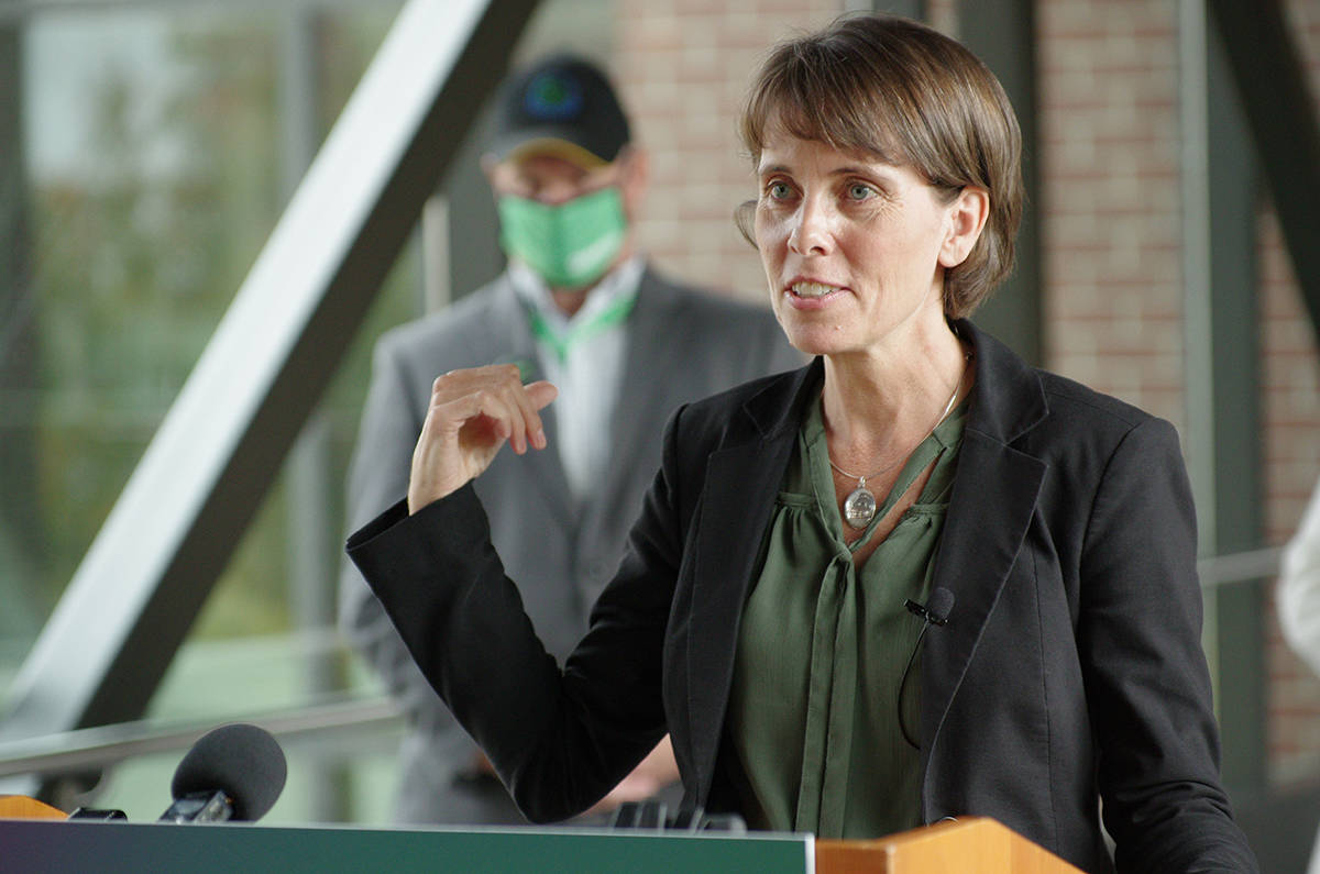 B.C. Green Party leader Sonia Furstenau outlines her party's climate action platform at Nanaimo's Vancouver Island Conference Centre earlier this month. (News Bulletin file photo)