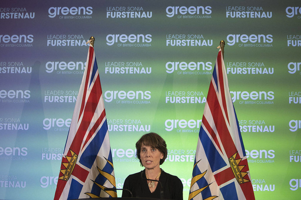 Provincial Green Party leader Sonia Furstenau speaks at Provincial Green Party headquarters at the Delta Victoria Ocean Pointe in Victoria. (Arnold Lim / Black Press)