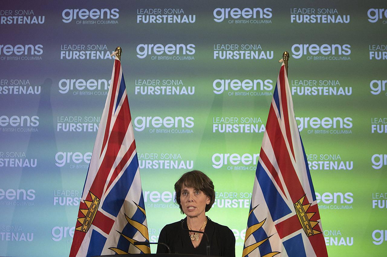 Provincial Green Party leader Sonia Furstenau speaks at Provincial Green Party headquarters at the Delta Victoria Ocean Pointe in Victoria. (Arnold Lim / Black Press)