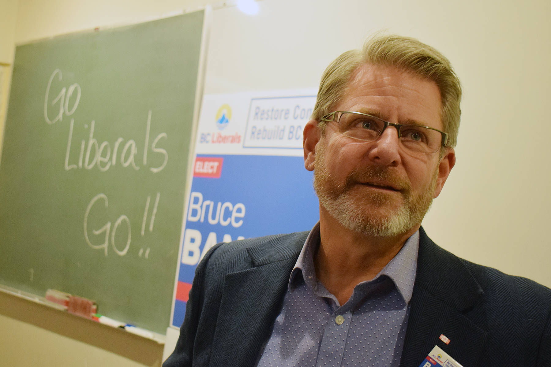 BC Liberal candidate Bruce Banman speaks at his campaign headquarters Monday evening. Tyler Olsen/Abbotsford News