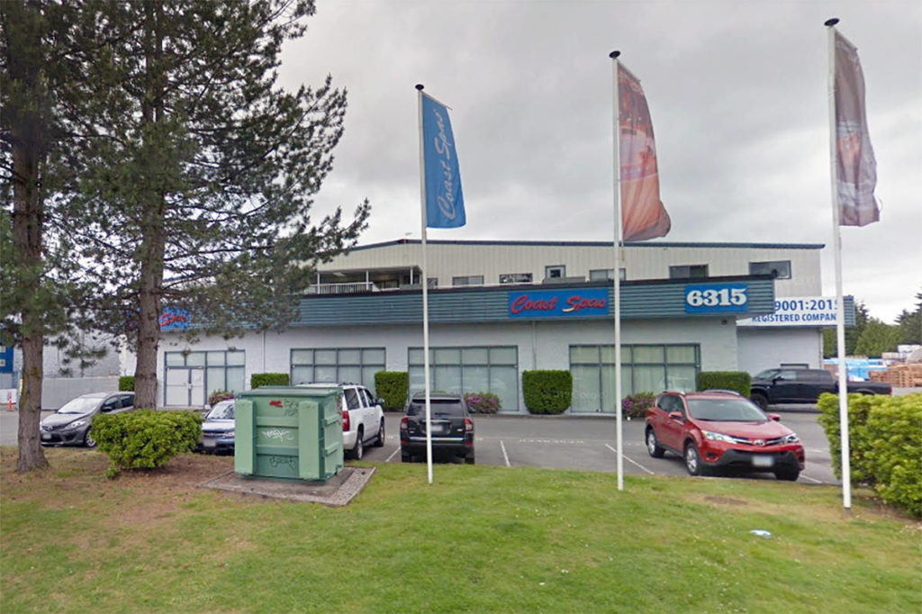 Coast Spas in Langley was ordered closed by the Fraser Health Authority after 12 staff came down with COVID-19 (undated Google Street View image)