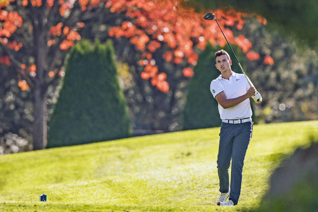Fort Langley's Jackson Jacob burned up Surrey's Northview Golf and Country Club, burning up the course with a 10-undert par 62 and setting a UFV scoring record in tournament play as the BC Rivalry Series continued on Wednesday, Oct. 21, 2020 (Bob Frid/UBC Athletics)