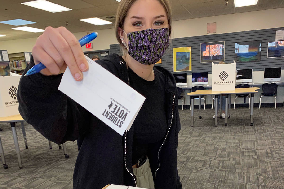 Students at Langley's Brookswood school were among an estimated 85,000 students who cast ballots representing all 87 electoral districts in the province, mirroring the actual election (file)