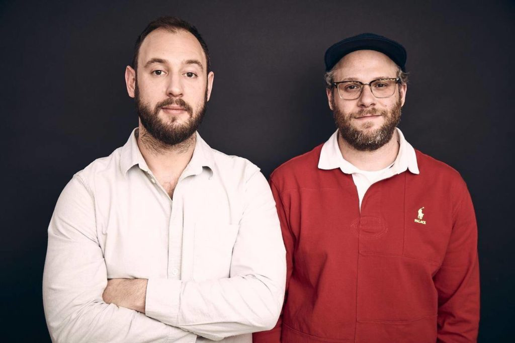 Comedic actor Seth Rogen, right, and business partner Evan Goldberg pose in this undated handout photo. When actor Seth Rogen was growing up and smoking cannabis in Vancouver, he recalls there was a constant cloud of shame around the substance that still lingers. Rogen is determined to change that. (Maarten de Boer ohoto)