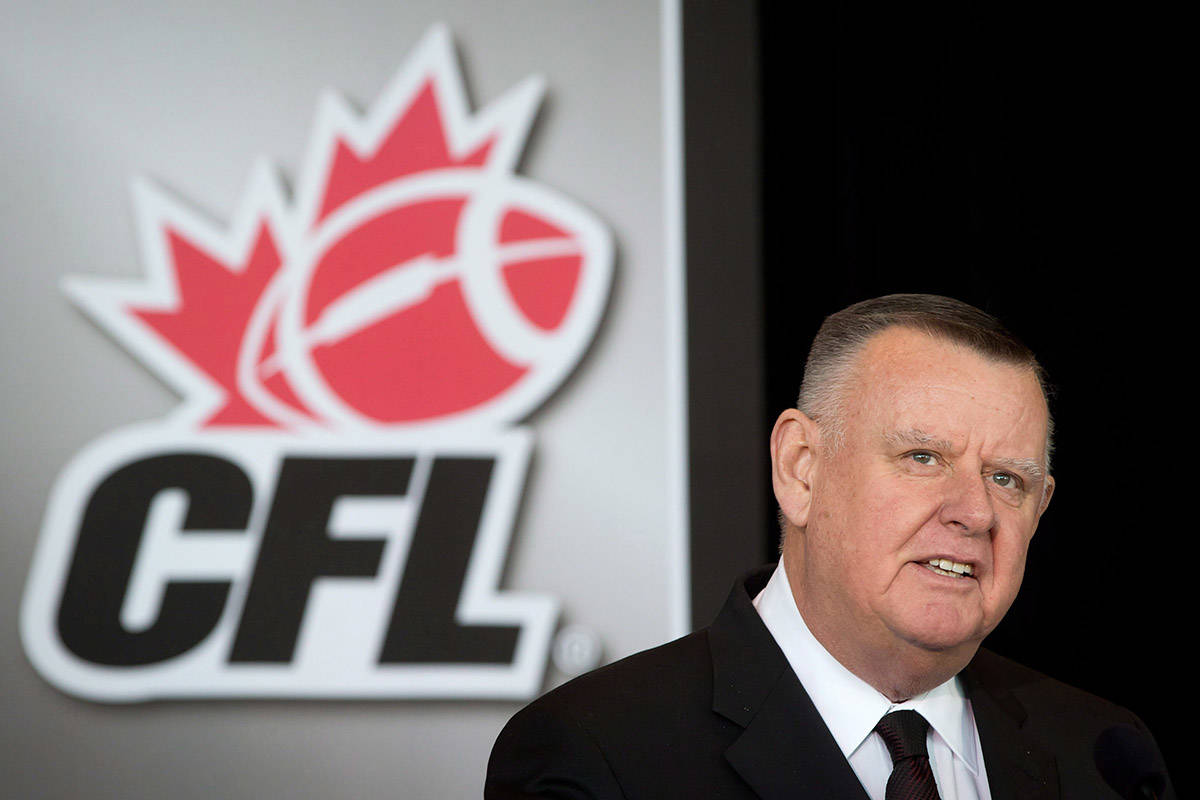 FILE – B.C. Lions and Toronto Argonauts owner, Senator David Braley speaks after the CFL announced Vancouver will host the 2014 Grey Cup championship football game during a news conference in Vancouver, B.C., on Friday March 8, 2013. THE CANADIAN PRESS/Darryl Dyck