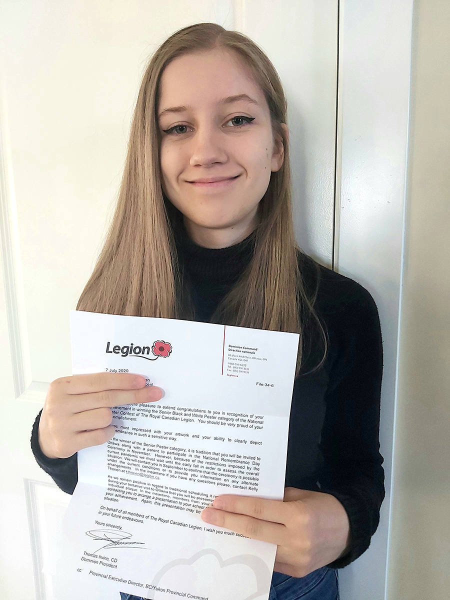 Aldergrove's Shaelyn Lorensen won the 2019-2020 Youth Remembrance Contest with her artwork, held through the Legion National Foundation. (Robyn Lorensen/Special to The Star)