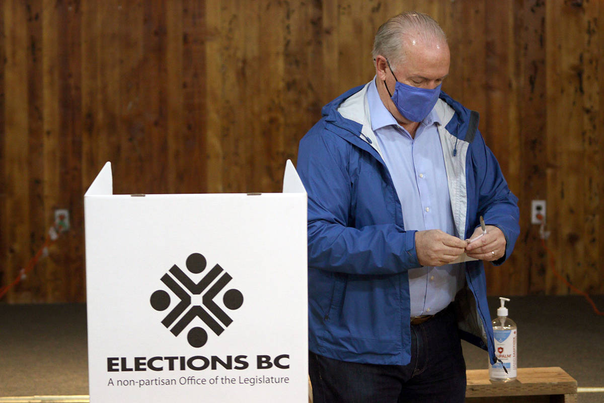 B.C. NDP Leader John Horgan folds his ballot as he votes at Luxton Hall during advance polls for the provincial election in Langford, B.C., Monday, Oct. 19, 2020. THE CANADIAN PRESS/Chad Hipolito