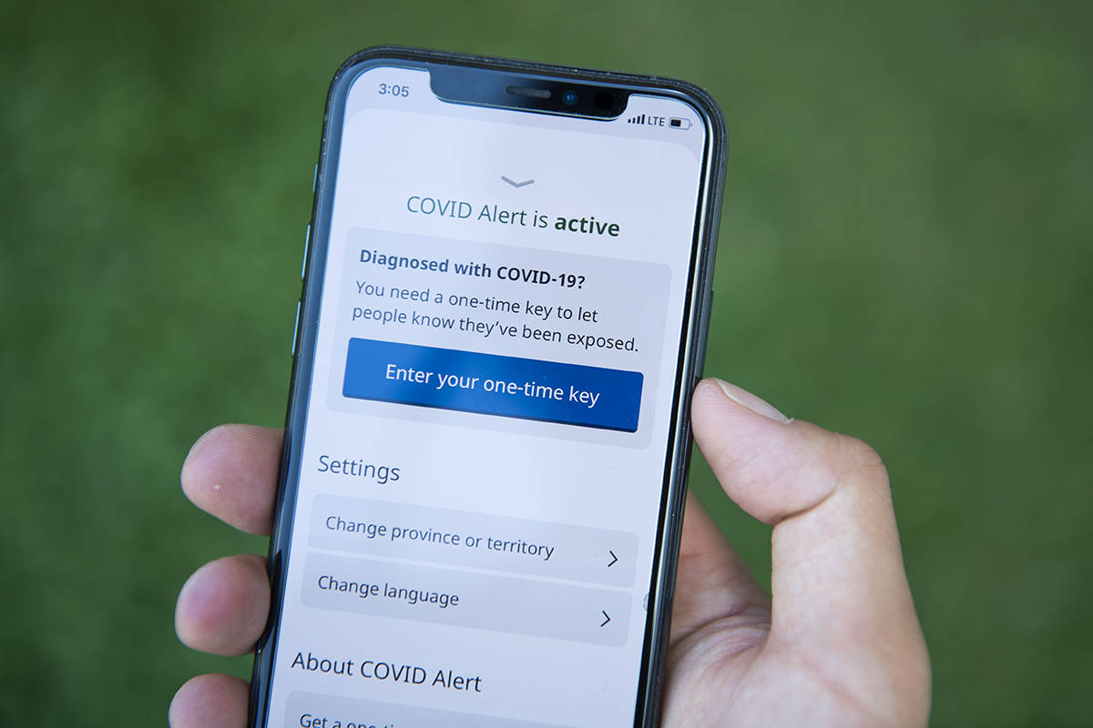 The COVID Alert app is seen on an iPhone in Ottawa, on Friday, July 31, 2020. Newfoundland and Labrador has signed on to use a new smartphone app that notifies users when they have been in close contact with a someone infected with COVID-19. THE CANADIAN PRESS/Justin Tang
