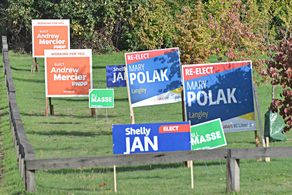 Did those election signs change anyone's mind in Langley? Something did. (Joti Grewal/Langley Advance Times files)
